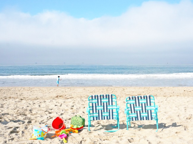 beach chairs on Carpinteria Beach in California // LivingMiVidaLoca.com. Click for more things to do in Anaheim besides Disneyland.