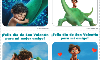 The Good Dinosaur Valentine's Day cards in Spanish