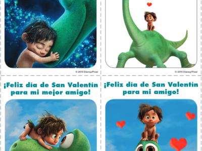 The Good Dinosaur Valentine's Day cards in Spanish