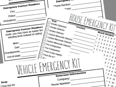 Emergency Preparedness Plan Printables