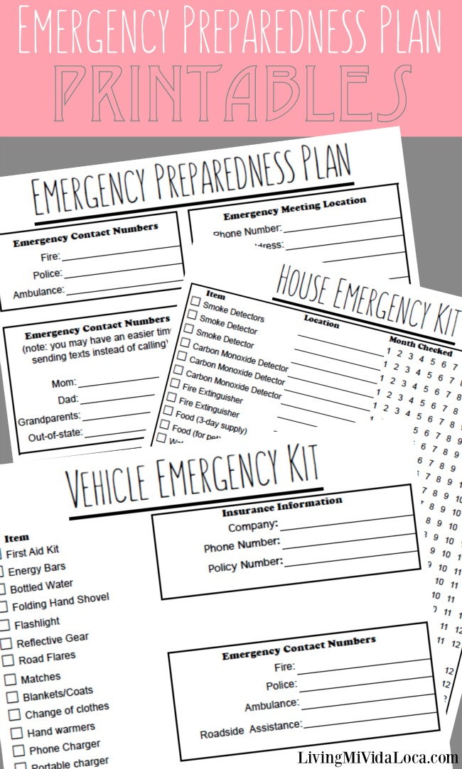 Emergency Plan Printables