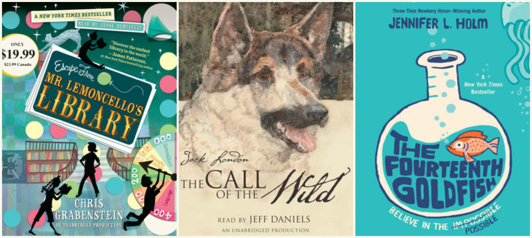 3 audiobooks to listen to on the drive: The Fourteenth Goldfish, Escape from Mr Lemoncello's Library, and Call of the Wild