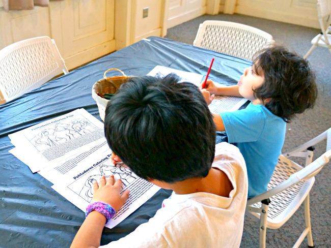 Kids activity table at oldest hotel in Los Angeles - Placita Olvera day trip - Living Mi Vida Loca
