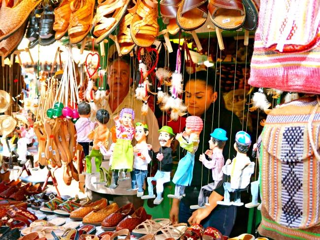 Mexican puppets sold in Mexican shop - Placita Olvera day trip - Living Mi Vida Loca