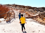Walking up the stairs to the Calico Ghost Town hill - Calico Ghost Town - Living Mi Vida Loca