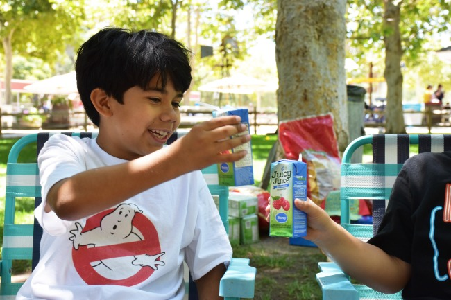 Boys toasting with Juicy Juice : Ghostbuster Party : LivingMiVidaLoca.com (photo credit: Pattie Cordova)