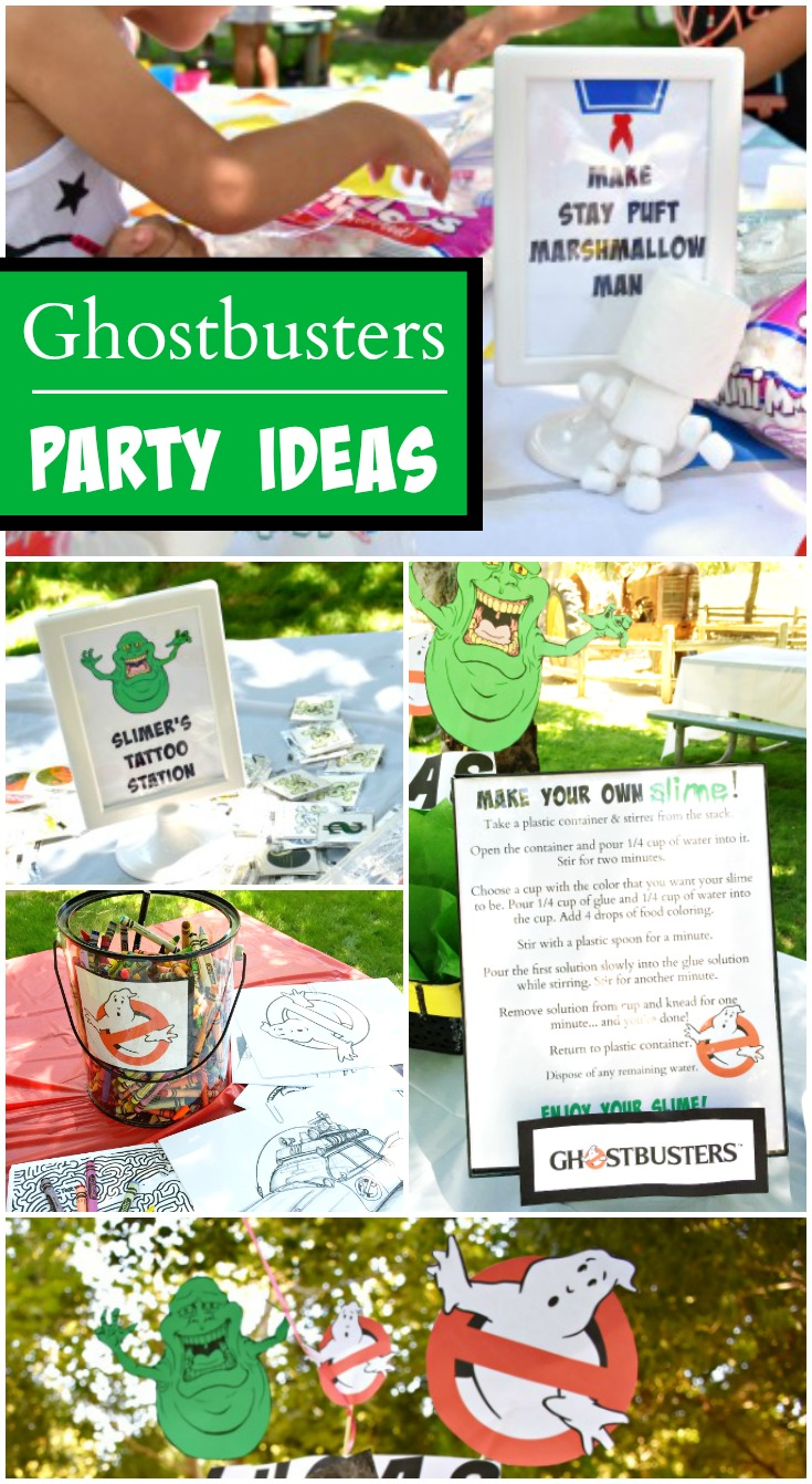 "Ghostbusters / ""Outdoor 5th Birthday Party!!"" A Ghostbusters birthday party with a DIY jumbo Jenga and make your own slime station! See more party planning ideas at LivingMiVidaLoca!"