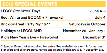 LEGOLAND California special events 2016