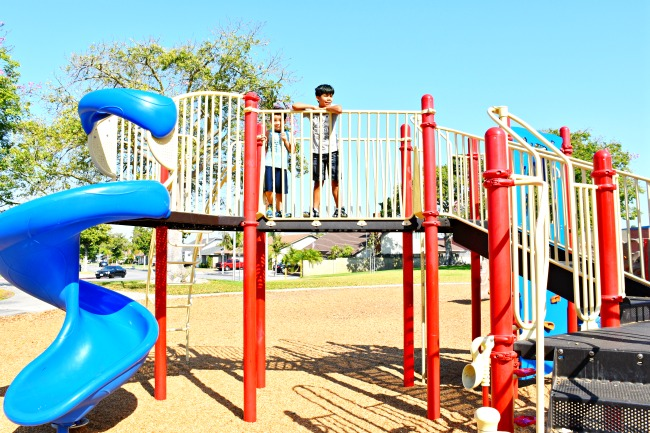 boys hanging out at the playground in Orange County - LivingMiVidaLoca.com