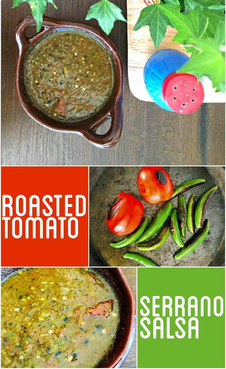 easy way to make roasted tomato Serrano Salsa in the blender. Great for tacos, burritos and for breakfast. | livingmividaloca.com | #livingmividaloca #roastedsalsa #recipes #serranosalsa #salsa #serranochile #diprecipes