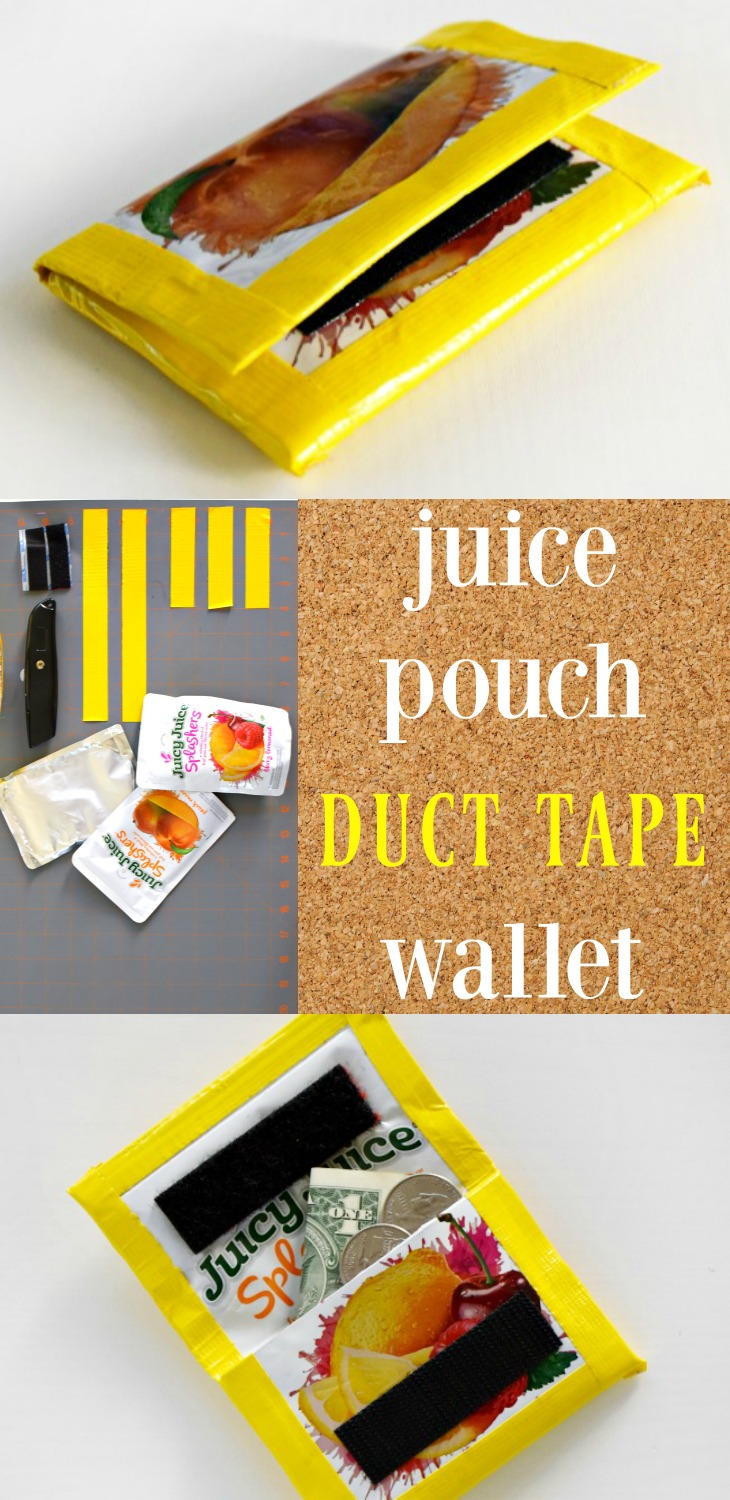 Juice pouch duct tape wallet how-to - LivingMiVidaLoca.com