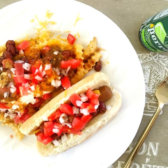 Vegetarian chili cheese dogs and vegetarian chili cheese fries