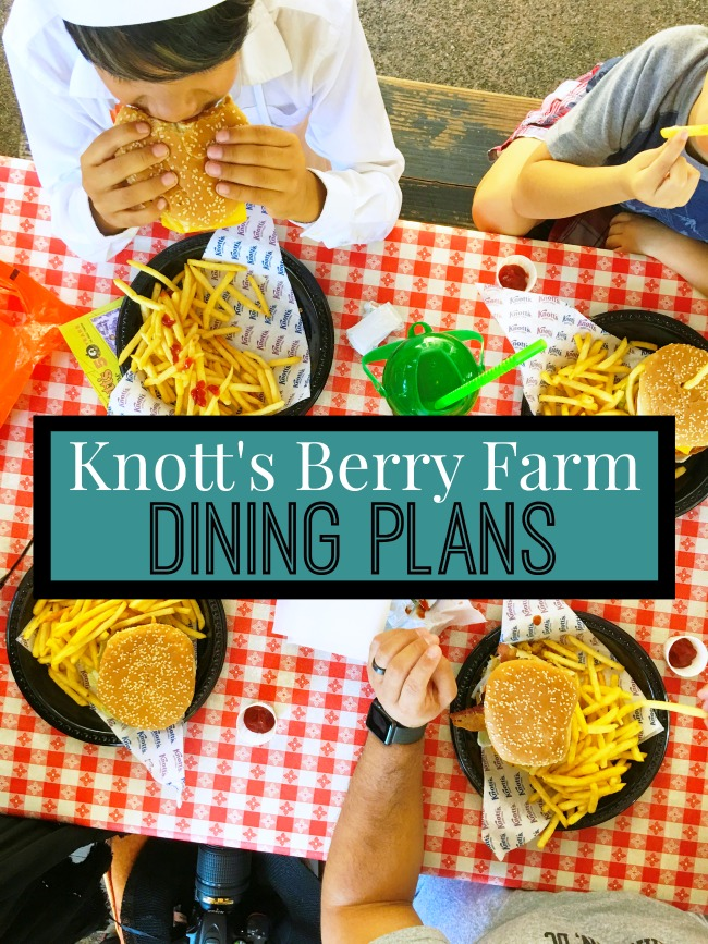 "Make the most of your visit to Knott's with an ""All Day Dining"" plan. Guests with an All Day Dining plan receive a wrist band at any of the participating locations and enjoy one entrée and one side dish as often as every 90 minutes! For only $31.99 (plus tax) you can enjoy up to seven different dining locations throughout Knott's Berry Farm. Drinks are not included. However, a Knott's Berry Farm Souvenir Bottle can be purchased for as low as $10.99 online to enjoy free refills for the entire day and $1 refills for the rest of the season."