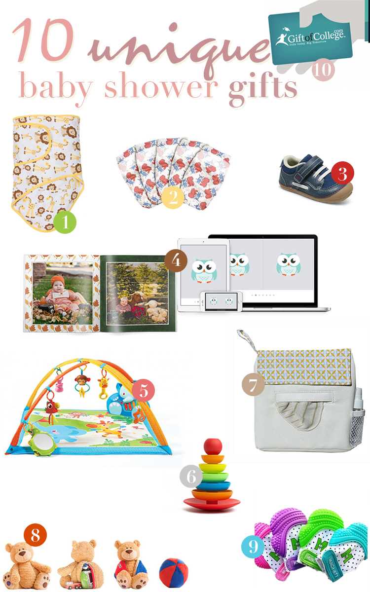 Unique baby gifts - Honest diapers - Baby Shower Presents and Creative, Cheap Gift Ideas for Boys and Girls - Unique Gifts for the Mom and Dad to Be - shoes, play mat, blanket and teething glove