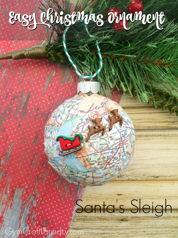 Santa's Sleigh Map Ornaments