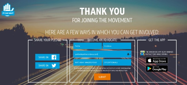 Join AT&T's It Can Wait Challenge and help them reach 16 million pledges by the end of 2016. - LivingMiVidaLoca.com
