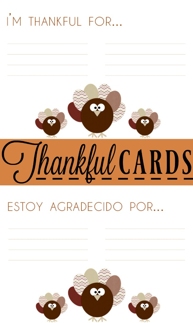 Thankful cards in Spanish and English - LivingMiVidaLoca.com