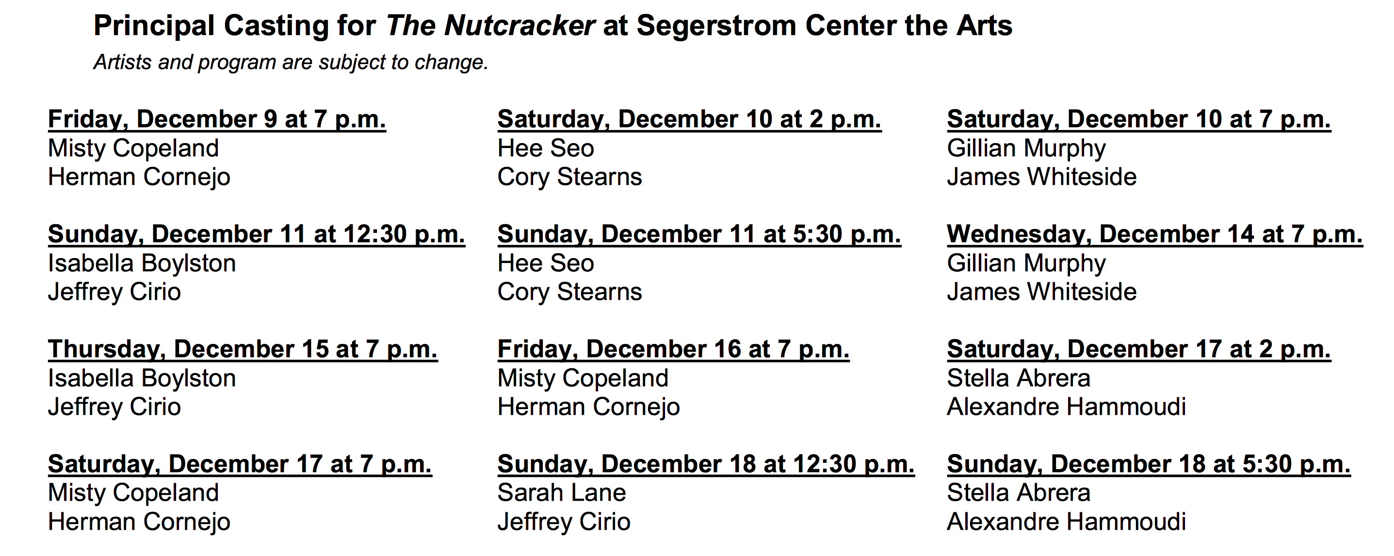 The Nutcracker dancers at Segerstrom Center