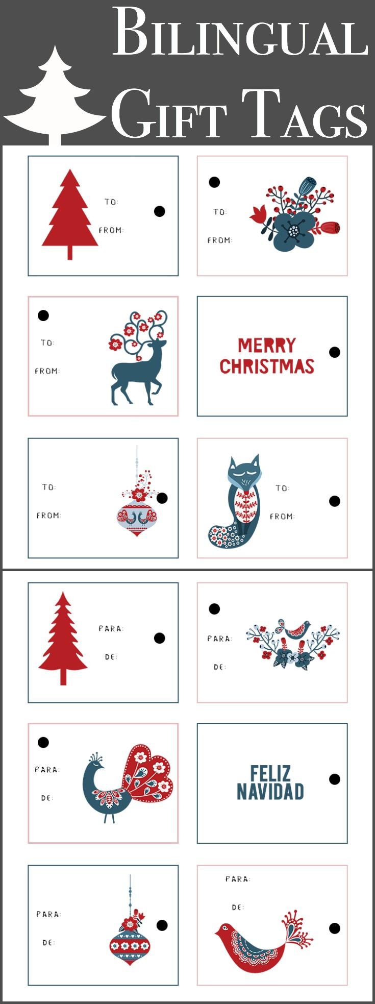 Free bilingual Christmas tags - LivingMiVidaLoca.com