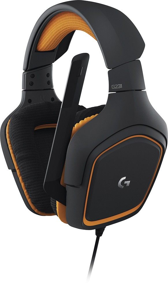 Logitech - G231 PRODIGY Wired Stereo Gaming Headset - Orange/Black