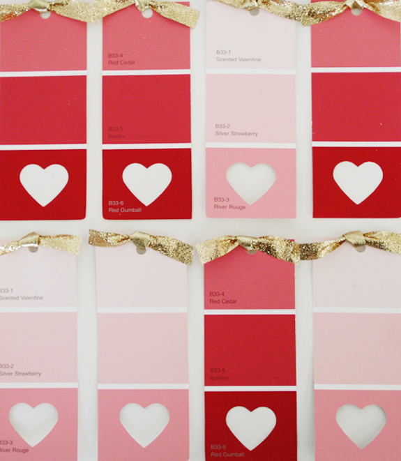 Valentine's Day card using paint samples