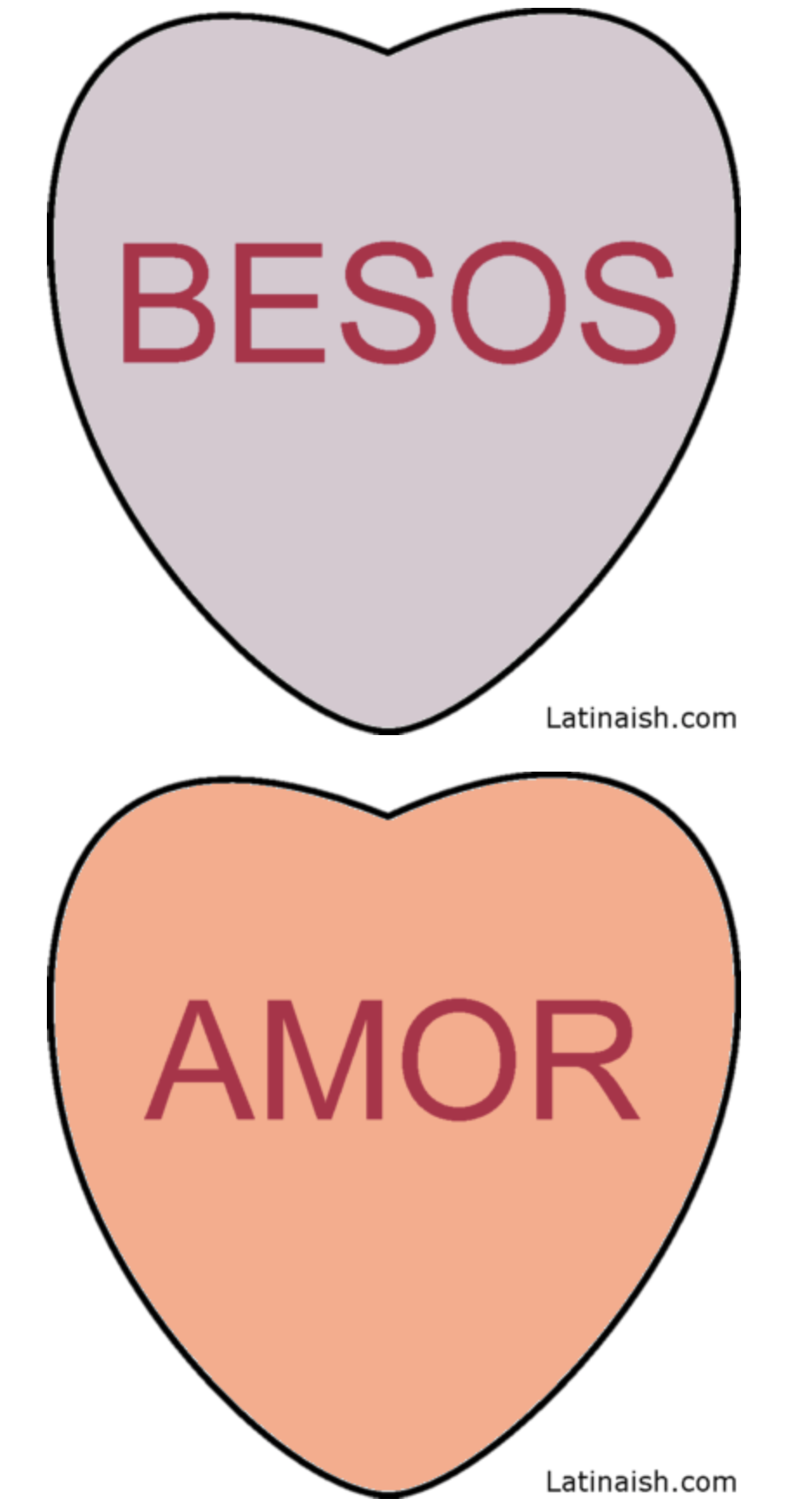 Valentine's Day conversation hearts in Spanish - livingmividaloca.com