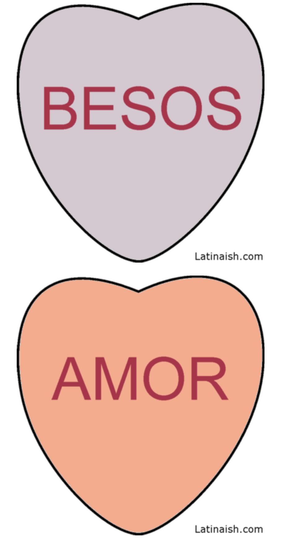 Valentine's Day conversation hearts in Spanish - livingmividaloca.com