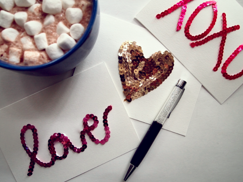 DIY sequin Valentine's Day cards