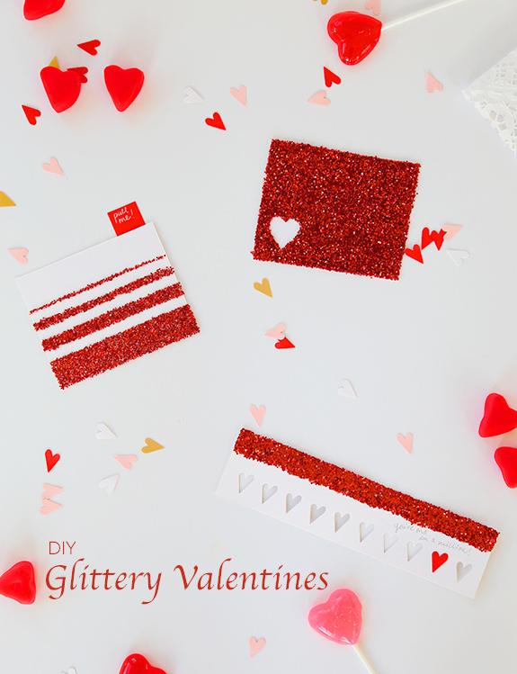 Glittery Valentine's Day card - LivingMiVidaLoca.com