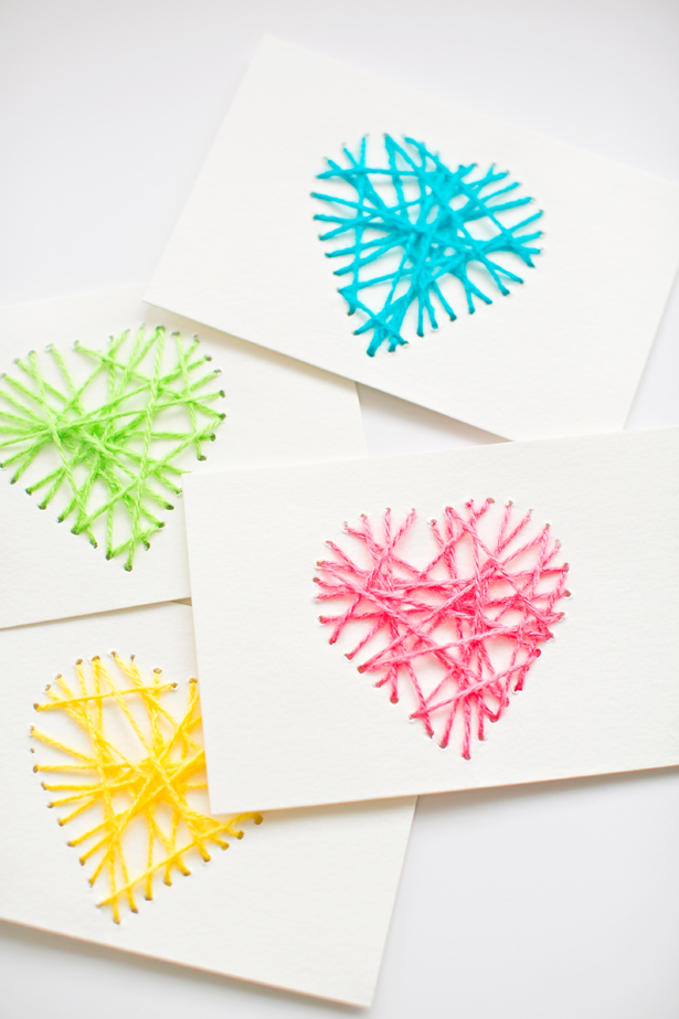 Yarn string heart card for kids - LivingMiVidaLoca.com