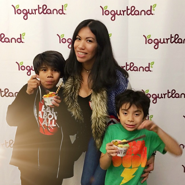 Pattie Cordova and kids visiting Yogurtland - LivingMiVidaLoca.com