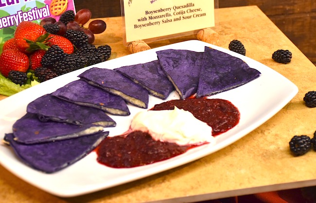 boysenberry quesadilla with sour cream and boysenberry sauce on a white plate - livingmividaloca.com