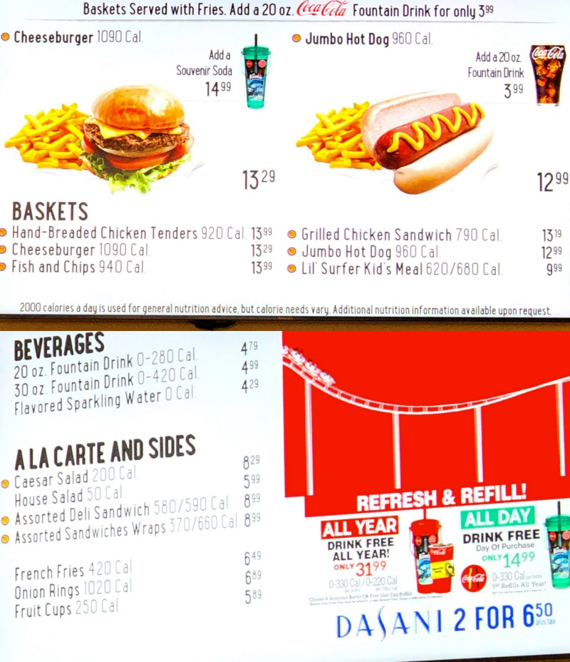 Longboard Grill menu at Knott's Soak City in Buena Park, CA. Great for burgers, salads and hot dogs - livingmividaloca.com - #LivingMiVidaLoca #KnottsSoakCity #KnottsBerryFarm #BuenaPark