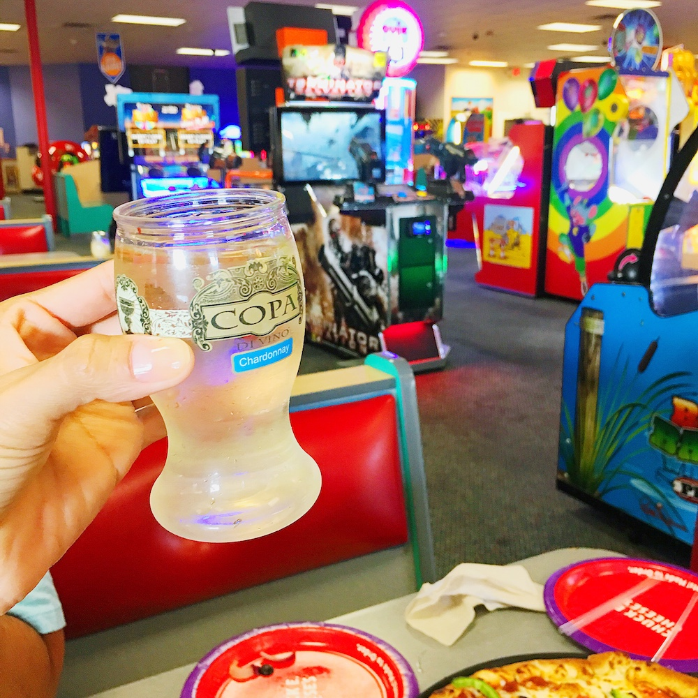 Wine at Chuck E. Cheese's - LivingMiVidaLoca.com