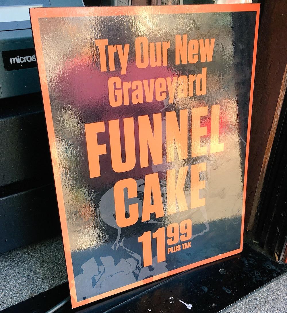graveyard funnel cake price at Knott's Spooky Farm - livingmividaloca.com