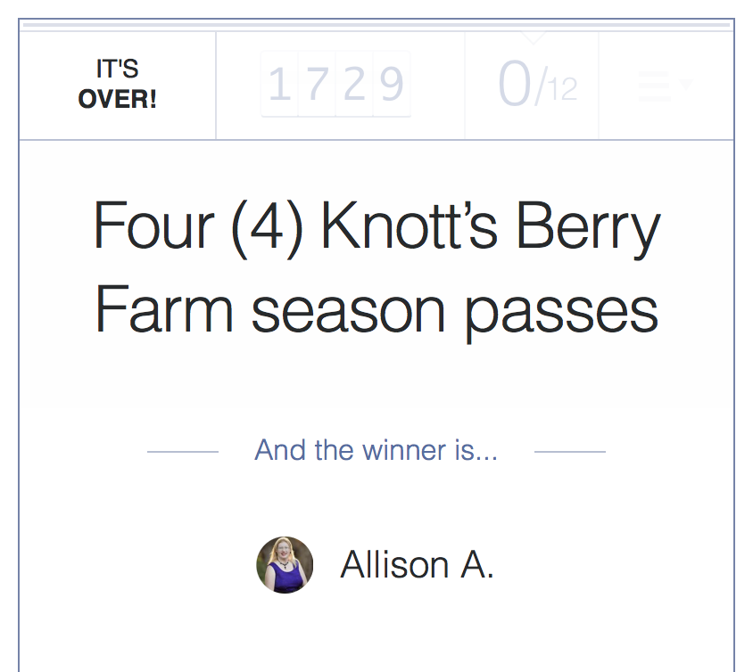Knott's Berry Farm season pass winner - livingmividaloca.com