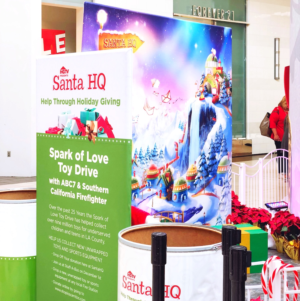 Donating toys at Santa HQ at Los Cerritos Center - LivingMiVidaLoca.com