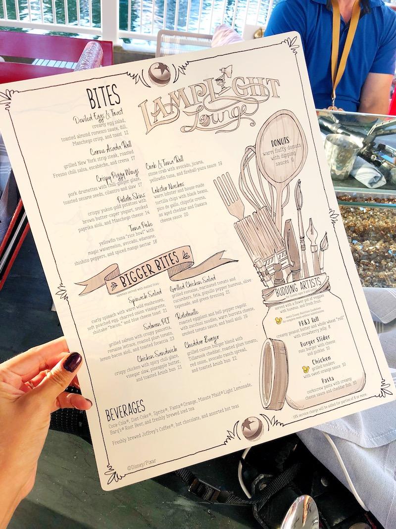 Lamplight Lounge menu - livingmividaloca.com - #pixarpier #disneyland #disneycaliforniaadventure