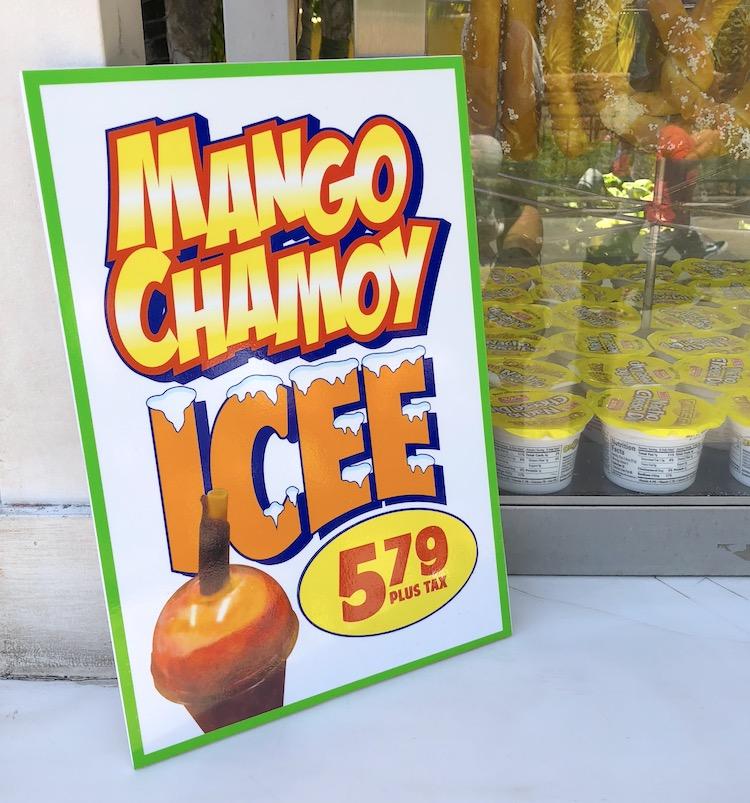 new mango chamoy icee with tajin topping sign - livingmividaloca.com