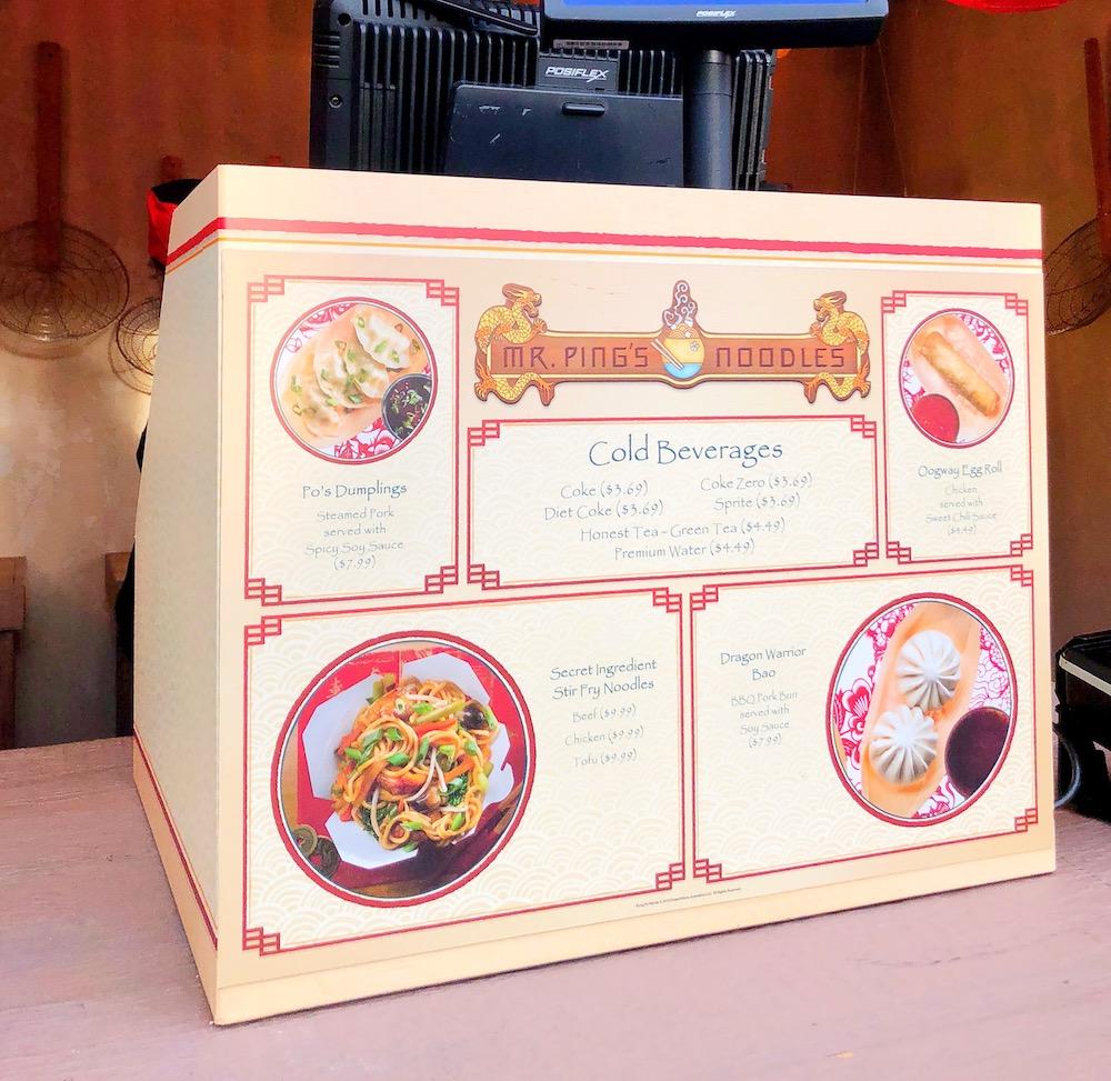 Mr. Ping's Noodles menu at Universal Studios - livingmividaloca.com