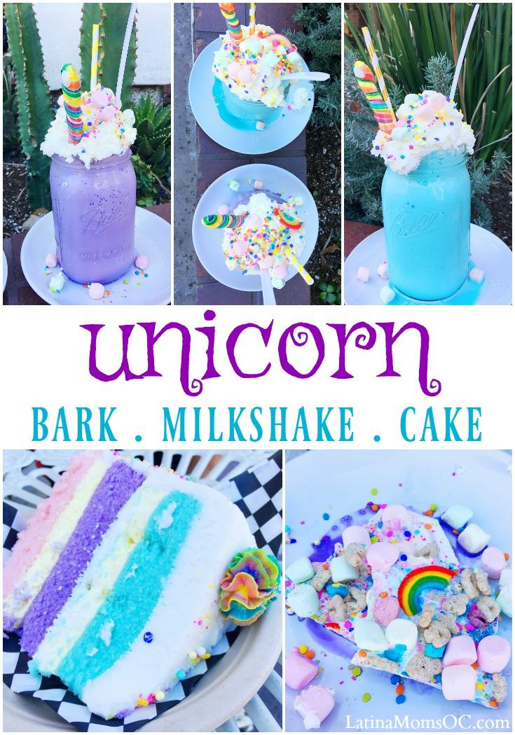 Unicorn bark, unicorn milkshake and unicorn cake at Creme & Sugar in Anaheim, California. | #UnicornFoods #unicorntreats #unicornpartyfoods #unicornideas #unicornmilkshake #unicornbark #unicorncake