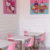Inside seating at Hello Kitty Cafe at Irvine Spectrum