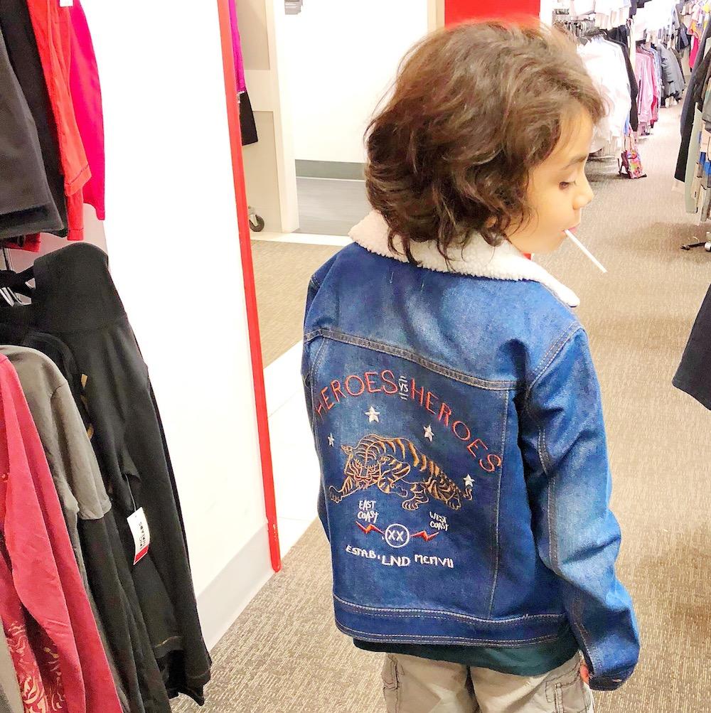 kids jean jacket at Macy's at MainPlace Mall in Santa Ana | livingmividaloca.com | #livingmividaloca #shopmainplace #santaana #mainplacemall #macys #kidstyle #sportystyle