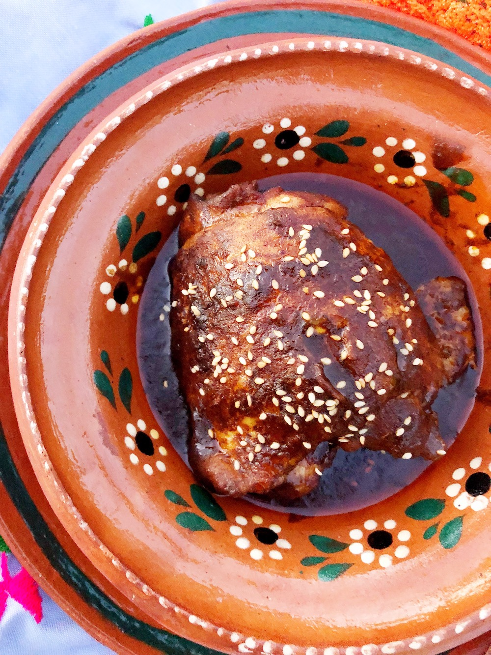 Classic red mole recipe. Make this traditional mole with chicken in under an hour! | LivingMiVidaLoca.com | #LivingMiVidaLoca #Mole #MoleinChicken #ChickeninMole #ChickenMole #TraditionalMexicanRecipes #MexicanFood #MexicanMole