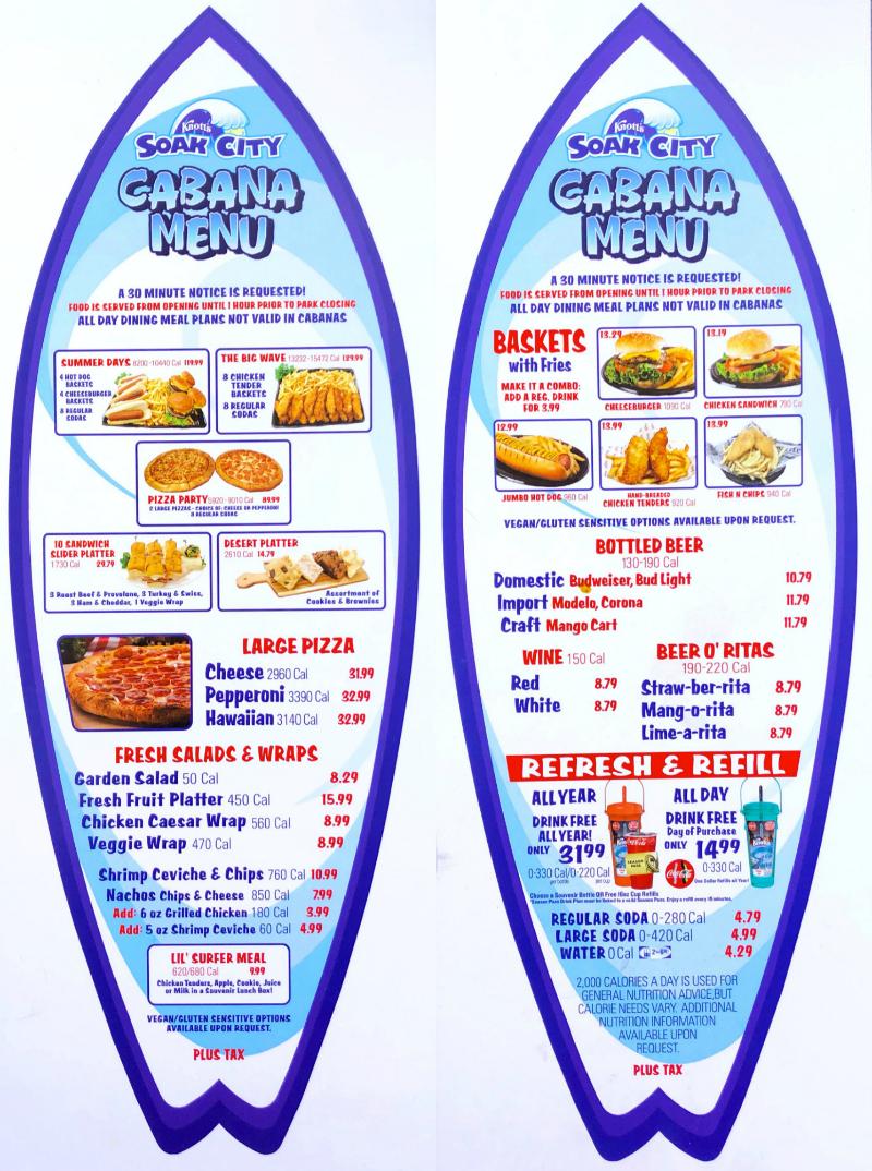 Soak City prices for food in the cabanas at Knott's Soak City in Buena Park, CA. Vegetarian options also available in the Soak City Cabana menu - livingmividaloca.com - #LivingMiVidaLoca #KnottsSoakCity #KnottsBerryFarm #BuenaPark