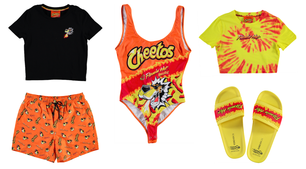 Forever 21 x Cheetos limited edition collection includes Cheetos Crunchy and Cheetos Flamin' Hot printed swimsuits, sweatshirts, t-shirts, dresses and much more. - livingmividaloca.com - #LivingMiVidaLoca #Forever21 #Cheetos
